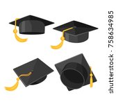 set of mortarboard caps with... | Shutterstock .eps vector #758634985