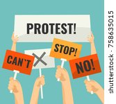 demonstration signs in human... | Shutterstock .eps vector #758635015