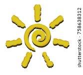 illustration of a spiral sun on ... | Shutterstock . vector #758638312