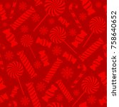 christmas seamless pattern with ... | Shutterstock . vector #758640652