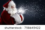 santa claus blowing snowflakes... | Shutterstock . vector #758645422