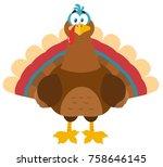 thanksgiving turkey bird...   Shutterstock .eps vector #758646145