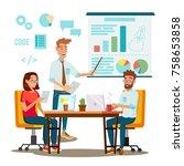 brainstorming process. teamwork ... | Shutterstock . vector #758653858