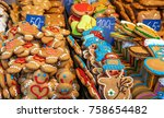 gingerbread man cookies and... | Shutterstock . vector #758654482