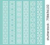 vector set of line borders with ... | Shutterstock .eps vector #758656132