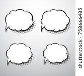 comic speech bubbles for text.... | Shutterstock .eps vector #758666485