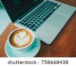 computer laptop and heart shape ... | Shutterstock . vector #758668438