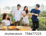 friends having party on the... | Shutterstock . vector #758677225