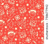 christmas pattern. vector... | Shutterstock .eps vector #758677942