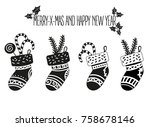 christmas stockings cartoon... | Shutterstock .eps vector #758678146
