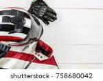 view of motorcycle rider... | Shutterstock . vector #758680042