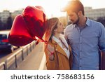 young couple in love outdoor ... | Shutterstock . vector #758683156