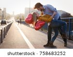 couple in love kissing laughing ... | Shutterstock . vector #758683252