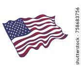 usa flag hand drawn on white...