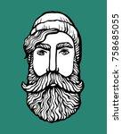 lumber hipster head with beard. ... | Shutterstock .eps vector #758685055