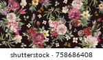 Stock photo seamless pattern with flowers and exotic leaves on black background floral pattern for wallpaper 758686408