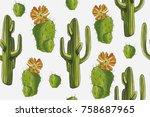 "watercolor pattern ""desert set""... | Shutterstock . vector #758687965"