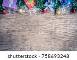 top view gift boxes and ball on ... | Shutterstock . vector #758693248