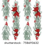 christmas vector seamless...   Shutterstock .eps vector #758693632