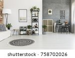 round patterned carpet in... | Shutterstock . vector #758702026