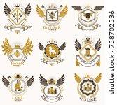 collection of vector heraldic... | Shutterstock .eps vector #758702536