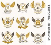 collection of vector heraldic... | Shutterstock .eps vector #758702566