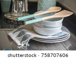 plate dish and dish towel in... | Shutterstock . vector #758707606