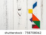 wooden tangram in a rabbit... | Shutterstock . vector #758708062