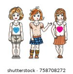 little girls cute children... | Shutterstock .eps vector #758708272