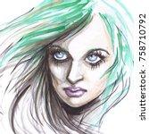 watercolor beautiful girl... | Shutterstock . vector #758710792