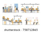 people at factory working set.... | Shutterstock .eps vector #758712865