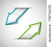 arrow banners set. direct shape.... | Shutterstock . vector #758716102