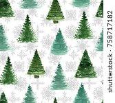 seamless pattern with fir tree... | Shutterstock . vector #758717182