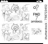 black and white cartoon vector... | Shutterstock .eps vector #758723452