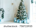 christmas living room with a... | Shutterstock . vector #758723935