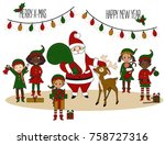santa claus with elves and deer....   Shutterstock .eps vector #758727316