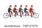 business people group riding... | Shutterstock .eps vector #758727475