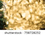 abstract blur christmas tree... | Shutterstock . vector #758728252