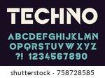geometric technology font... | Shutterstock .eps vector #758728585