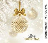 christmas greeting card  ... | Shutterstock .eps vector #758729596