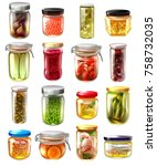 set of canned food in glass... | Shutterstock .eps vector #758732035