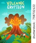 natural disaster volcano... | Shutterstock .eps vector #758732122