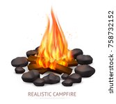 realistic campfire composition... | Shutterstock .eps vector #758732152