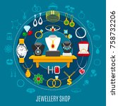 jewelry shop round composition... | Shutterstock .eps vector #758732206