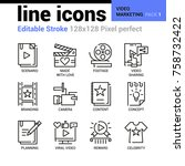 video marketing line icons  ... | Shutterstock .eps vector #758732422