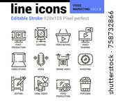 video marketing line icons  ... | Shutterstock .eps vector #758732866