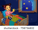 cute little girl in bed with... | Shutterstock .eps vector #758736832