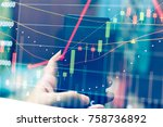 financial data on a monitor as...   Shutterstock . vector #758736892