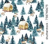seamless pattern with winter... | Shutterstock . vector #758740675