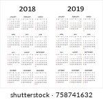 european  2018  2019 year... | Shutterstock .eps vector #758741632
